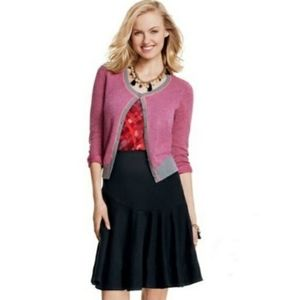 CAbi Sweater Cardigan Pink Gray Geometric Meg